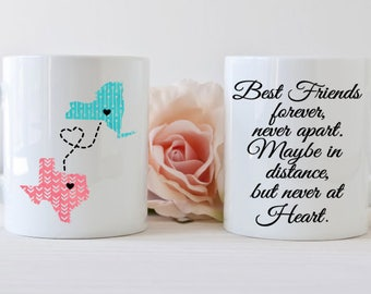 Best friend mug, long distance, state mug, Friends forever, dishwasher safe