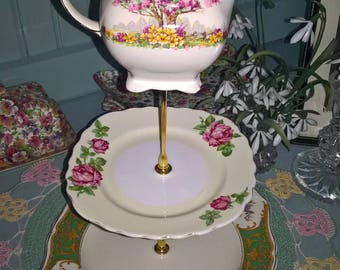 Vintage China Three Tier Cake Stand Milk Jug Plates Afternoon Tea Party Wedding Christening Tea Room Baby Shower Gift Table Display Roses