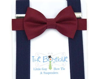 Burgundy Bow Tie, Navy Suspenders, Adult, Mens, Toddler Suspenders, Baby, Infant, Boys,Kids, Burgundy, Maroon, Ring Bearer Gift, Navy Braces