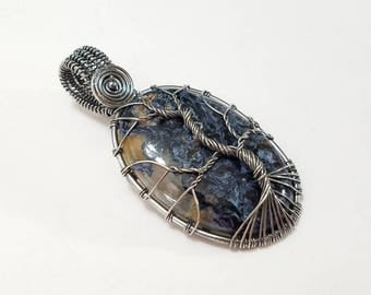 Pietersite, Wire Wrapped, Sterling Silver, Tree, Tree of Life, Pendant, .925 Sterling Silver, Necklace, Focal, Beading, Jewelry, Supply