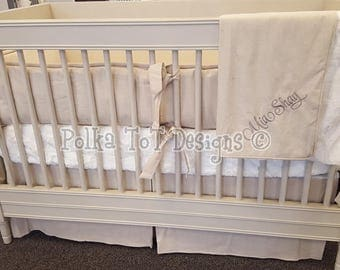 Natural Linen is perfect for Unisex/Gender Neutral Nursery: Mia Shay Crib Bedding