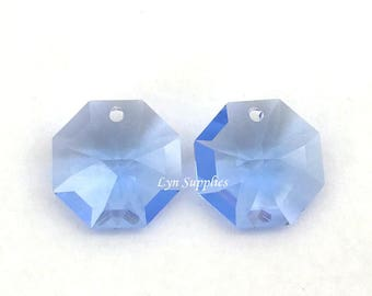 8115 MEDIUM SAPPHIRE 14mm Swarovski Crystal Strass Octagon Lily Pendant, 4 pieces Blue