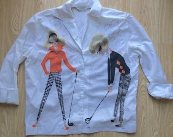 Vintage 1960s Novelty Print Golf Shirt