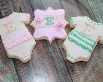 Shabby Chic, Rustic Baby Shower / Monogrammed Vanilla Sugar Cookies
