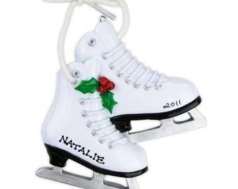 Custom Ice Skates Ornament, Pair of White Ice Skates Holiday Ornament