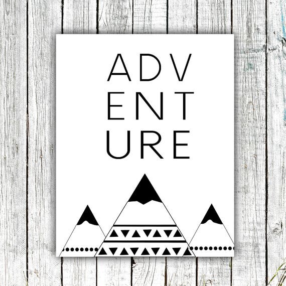 Nursery Printable, Adventure, Mountains, Black and White, Digital Download Multiple Sizes #651