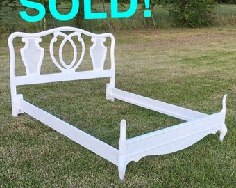 SOLD!  Bed, French Serpentine Vintage bedframe Headboard footboard Double Full Bedroom   --PORTFOLIO pic--