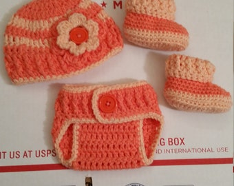 New Handmade Crochet 3-Piece Baby Girl Gift Set In Orange + Peach Comes With Hat, Booties & Diaper Cover 0-3 Months