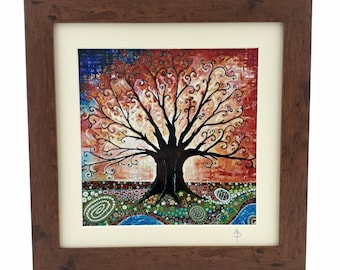 Tree of Life Art Nouveau Art Print Christmas Gift Nature Art Pagan Art Folk Art Framed Art Print Signed