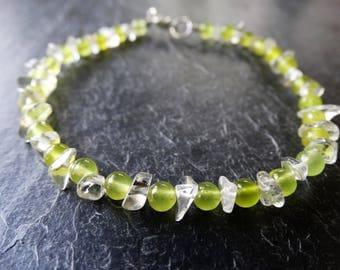 Peridot bracelet - birthstone bracelet - peridot jewellery - august birthstone - quartz bracelet - gemstone bracelet - healing bracelet
