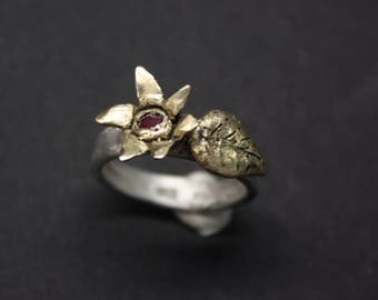 14k Gold Sterling Silver Pink Sapphire Flower Ring
