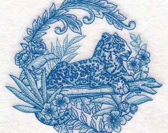 single Flour sack towel - Delft Blue Safari - Leopard - Embroidered Great Gift!