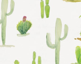 Watercolor Cactus Organic Fabric - By The Yard - Boy / Girl / Gender Neutral
