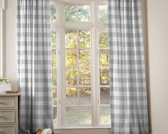 """OUTLET Drape Listing - Gray Buffalo Check Drape Panel 84"""" by 42"""" with Standard Lining"""