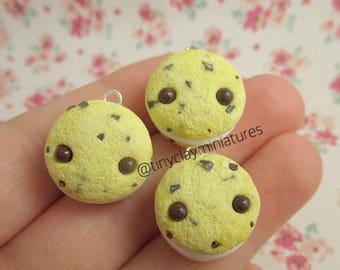 kawaii ice cream cookie sandwich polymer clay miniature charm