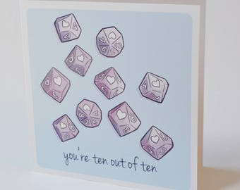 Geeky Romance Card, D10 10 out of 10 Design, sweet nerdy valentine card, tabletop rpg world of darkness
