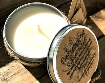 Pink Grapefruit Hand Poured All Natural Soy Candle 8 oz Tin