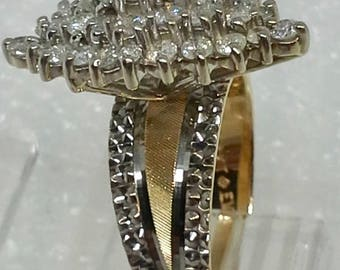 14K yellow and white gold cluster diamond ring