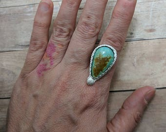 Turquoise & Sterling Silver Ring Custom Sized, 6 7 8 9 10, handmade gift for her, teardrop stone, spring fashion, southwest, easter jewelry