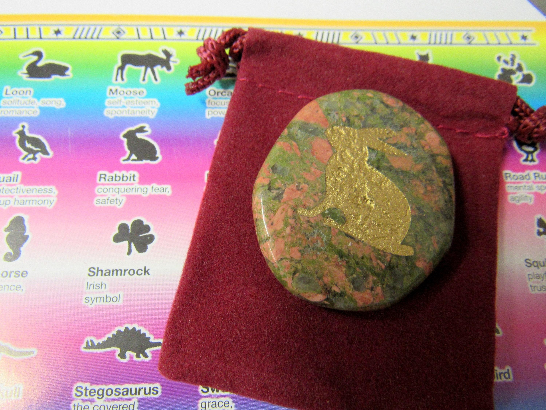 Gemstones, Animals, Rabbit, Totem Spirit Healing, Stones with Animals and Symbols, Medicine Bag, Spirit Totem, Reiki, Chakra,Feng Shui