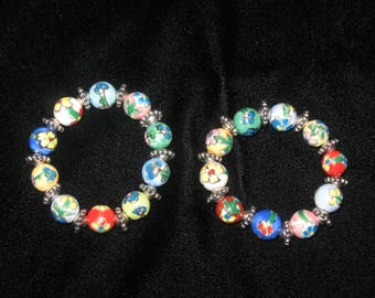 Childs hand painted, multi-colored flower beads with silver bead accents