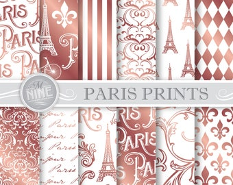 ROSE GOLD PARIS Digital Paper / Paris Printables / Parisian Patterns Prints, Rose Gold Paris Downloads, 12 x 12 Paris Scrapbook Paper