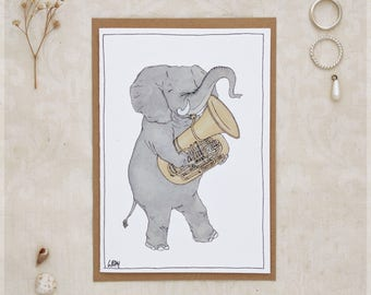 The Elephant and Her Tuba ~ Greeting Card from Original Ink and Watercolour Painting
