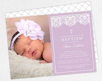 Photo Baptism Invitation, Christening Invitation, Girl Baptism Invitation, Printable Baptism, PDF, DIY, Printed, Lace Invite, Purple, Maura