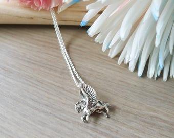 Pegasus Necklace, Sterling Silver, Pegasus Jewelry, Greek Mythology, Mythical Pegasus, Winged horse, Flying Horse, Flying Pegasus, Fairytale