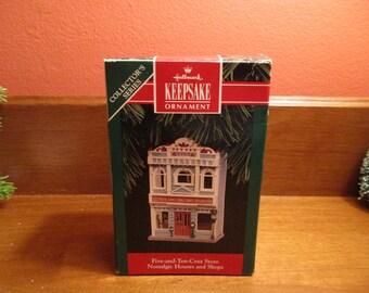 "1992 Hallmark Keepsake Nostalgic Houses & Shops ""Five and Ten Cent Store"" Christmas Ornament"