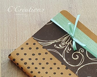Small notebook lined in kraft, black and green