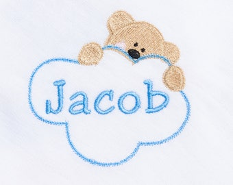 Personalised  Baby Boy Muslin Square Cloth Embroidered With Babies Name