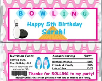 Set of 12 - Bowling Themed Birthday Candy Bar Wrappers - Personalized Birthday Party Favors - Chocolate Bar Favors