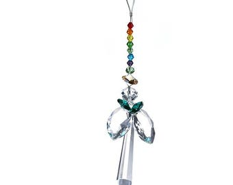 "Crystal Angel 7.5"" Suncatcher Ornament with Rainbow Beads"