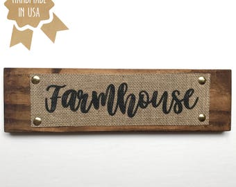 Farmhouse - BURLAP/WOOD SIGN - Kitchen Decor - Dining Room Sign - Handmade - Rustic Kitchen Wall Decor