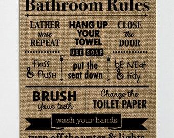 Bathroom Rules / Burlap Print Sign UNFRAMED /Rustic Country Shabby Chic Vintage Decor Sign Bathroom Decor Bathroom Rules
