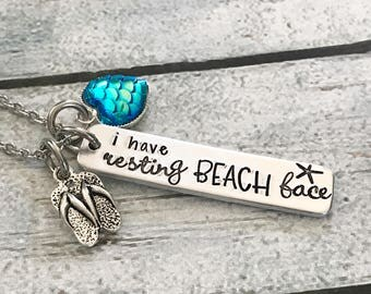 Resting beach face - Hand stamped necklace - Beach necklace - Mermaid jewelry - Hand stamped jewelry  - Beachy jewelry - Resting bitch face