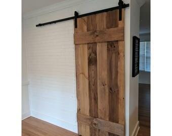 Rustic Plank Design Sliding Barn Door By Rustic Luxe   Reclaimed