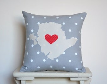 Isle of Anglesey Cushion - Anglesey scatter cushion - Grey polka Anglesey keepsake - Gift Idea
