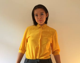 Three-Quarter Sleeve Silk Yellow Polka Dot Button-Up Blouse