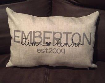 Last Name Pillow Cover - Wedding Gift - Monogram Pillow - Marriage Est Pillow - Couple Name Pillow - Personalized Pillow