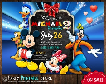 Mickey Mouse Birthday Invitation, Mickey Mouse Invitation, Mickey Mouse Clubhouse Birthday Invitation, Mickey Mouse Clubhouse Invitation