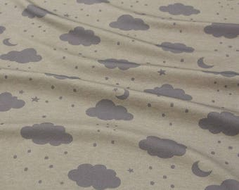 Interlock Knit Fabric Clouds Grey & Purple By The Yard
