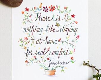Comfort Jane Austen Quote Art Print Watercolor Typography