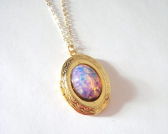 Harlequin Fire Opal Locket, Glass Opal Necklace, Hollywood Glamour, Vintage Inspired Jewelry, Gift for Her