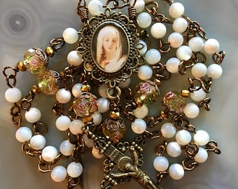 Beautiful Brass Mother-of-Pearl Blessed Mother Rosary