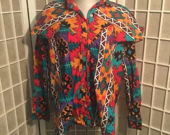 1980s Authentic Rodeo Blouse Cotton wIth Double Collar XL