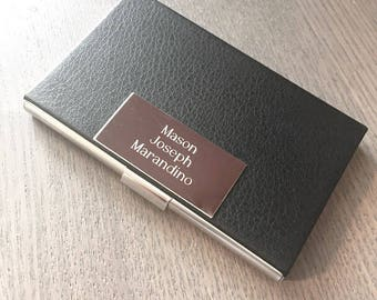 Personalized Business Card Holder, Leather Stainless Steel Business Card Case, Groomsmen Gifts, Birthday Gift, Anniversary Gift • V612B