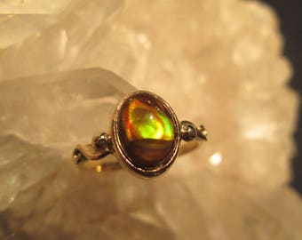 Fire Agate Ring ~14K Gold~ Handmade  Beautiful Natural Mexican Fire Agate