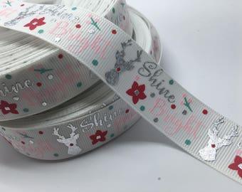 "7/8"" Shine Bright Christmas Rudolph Reindeer grosgrain ribbon"